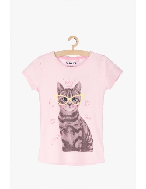 T-shirt dziewczęcy- różowy z kotem