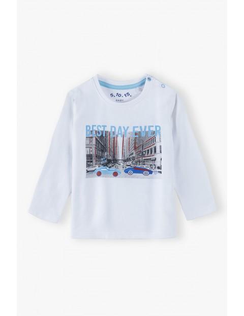 Bawełniana bluzka niemowlęca z nadrukiem - Best day ever