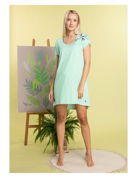 Koszulka nocna damska z bawełny w kolorze pistacjowym