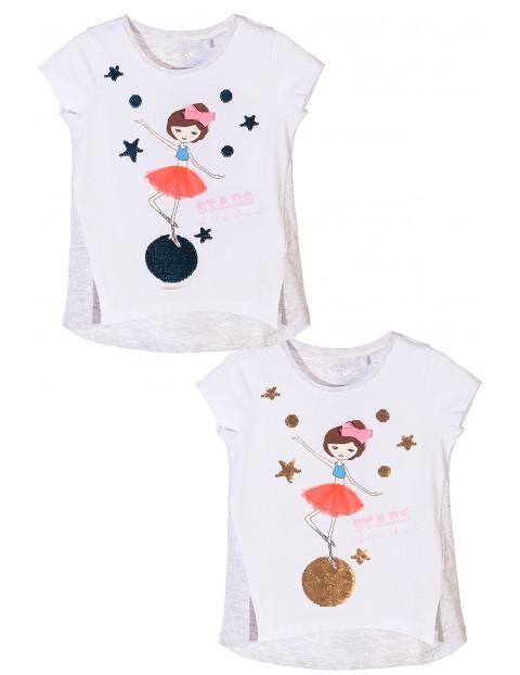 T-shirt dziewczęcy z dwustronnymi cekinami