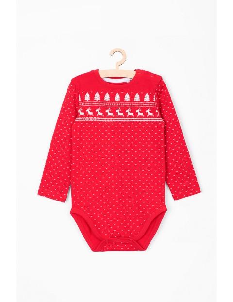Czerwone body niemowlęce z motywami świątecznymi