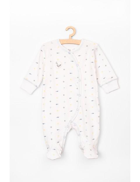 Pajac niemowlęcy biały z morskim motywem- 100% bawełna