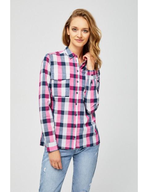 Bawełniana koszula damska w różową kratkę