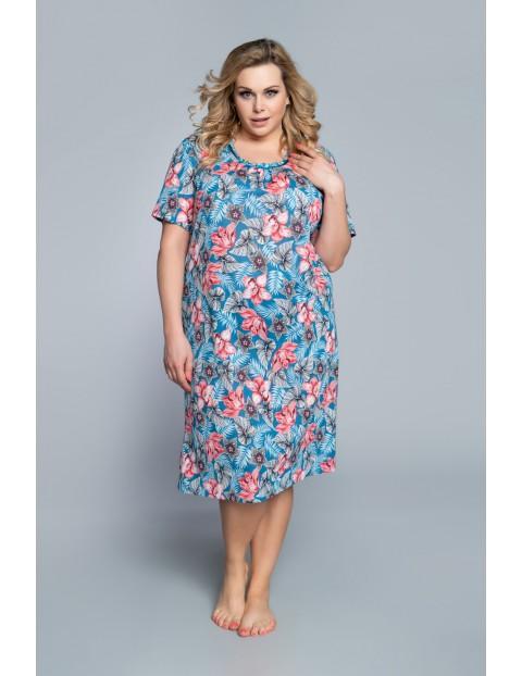 Niebieska koszula nocna damska na krótki rękaw w różowe kwiaty Italian Fashion