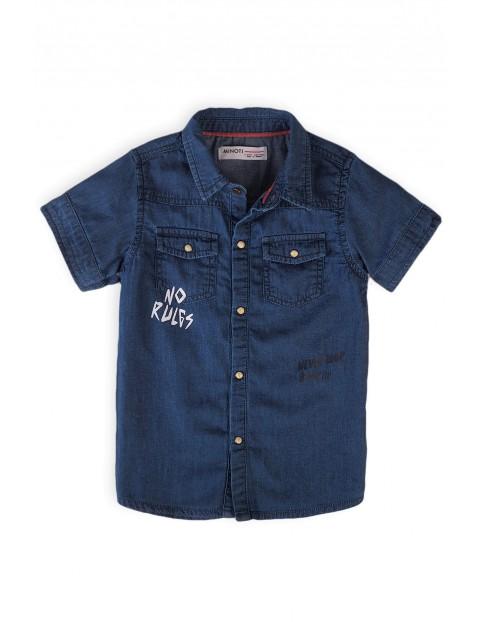 Koszula niemowlęca jeansowa z krótkim rękawem