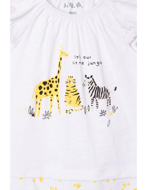 Rampers dziewczęcy biało-żółty Safari