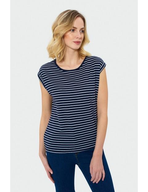T-shirt damski w paski z gumką w dolnej części