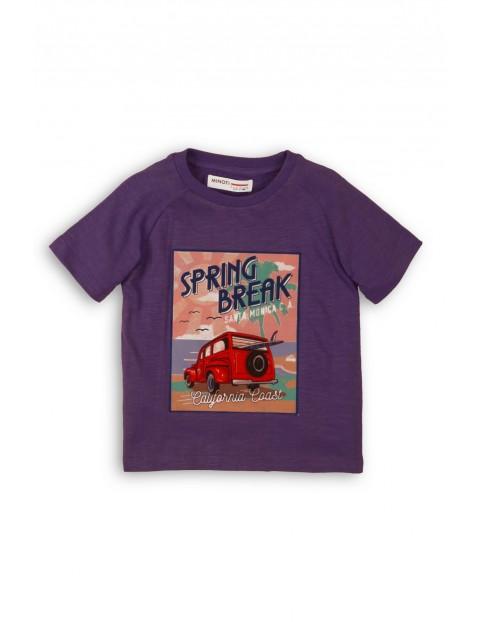 Fioletowy t-shirt dla chłopca z kolorowym nadrukiem
