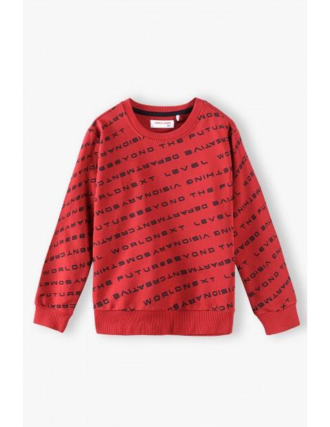Czerwona bluza dresowa dla chłopca z nadrukiem