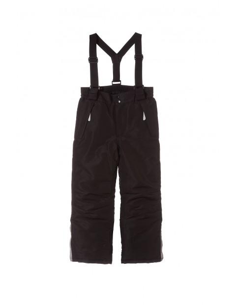 Spodnie narciarskie dziewczęce- czarne z elementami odplaskowymi