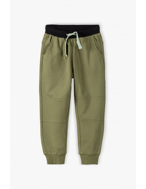 Spodnie dresowe chłopięce w kolorze khaki- 100% Bawełna