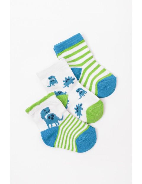Skarpety niemowlęce w dinozaury- 3pak