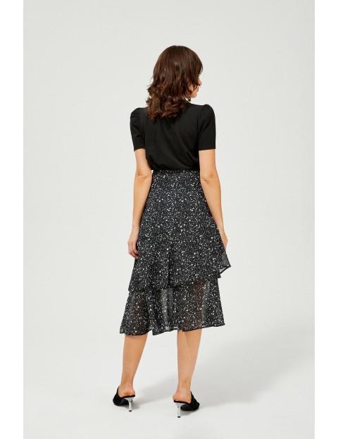 Szyfonowa spódnica z falbaną - czarna