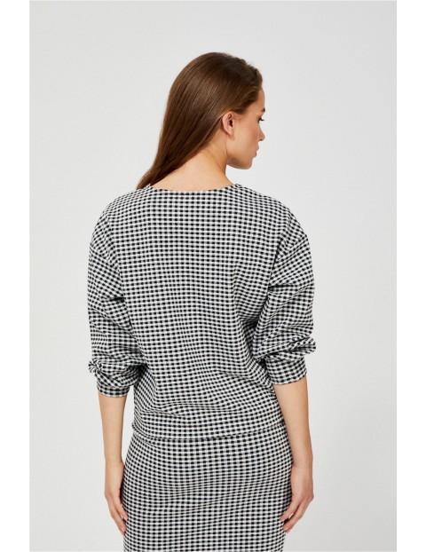 Bluza damska w biało - czarną kratkę