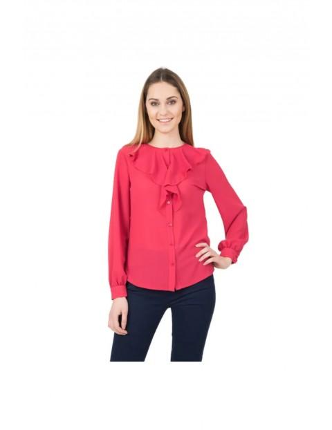 Koralowa koszula z żabotem przy dekolcie- długi rękaw