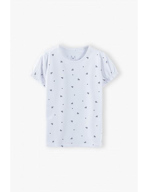 Bluzka dziewczęca z wisienkami - biała