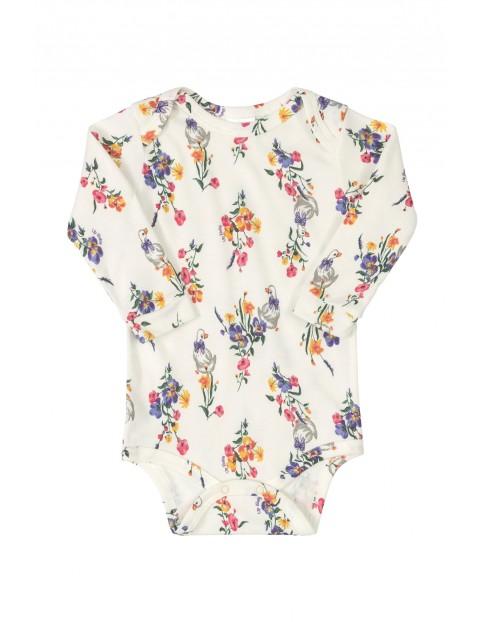 Body niemowlęce z długim rękawem- kwiatki