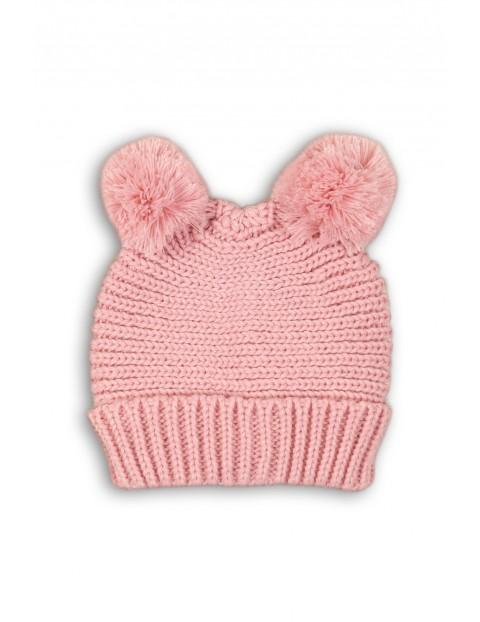 Czapka niemowlęca różowa z pomponami