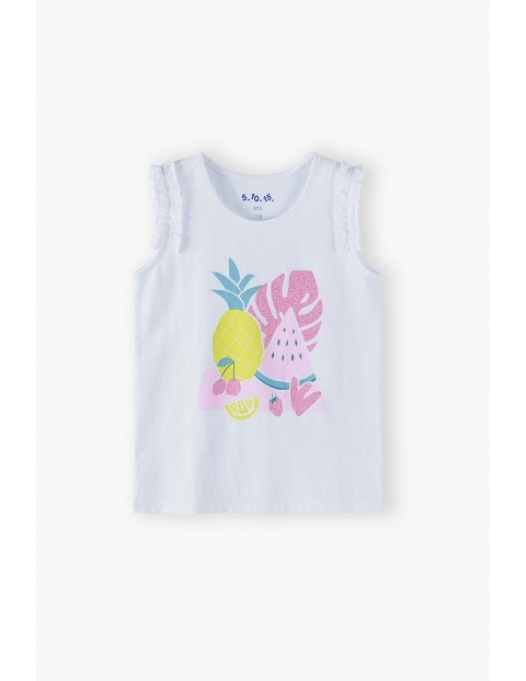 Bluzka dziewczęca na ramiączka biała z owocami