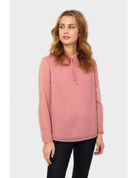 Bluzka damska w długim rękawem w kropki - różowa