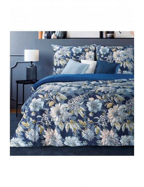Pościel w nadrukiem w kwiaty - niebieska - 220 x 200 cm