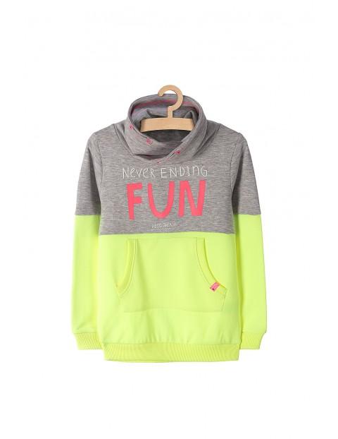 Bluza dresowa dla dziewczynki- fluo