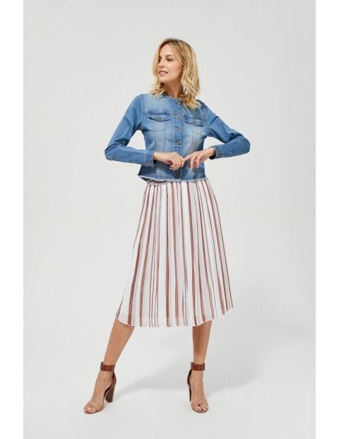 Spódnica damska midi plisowana beżowa w paski