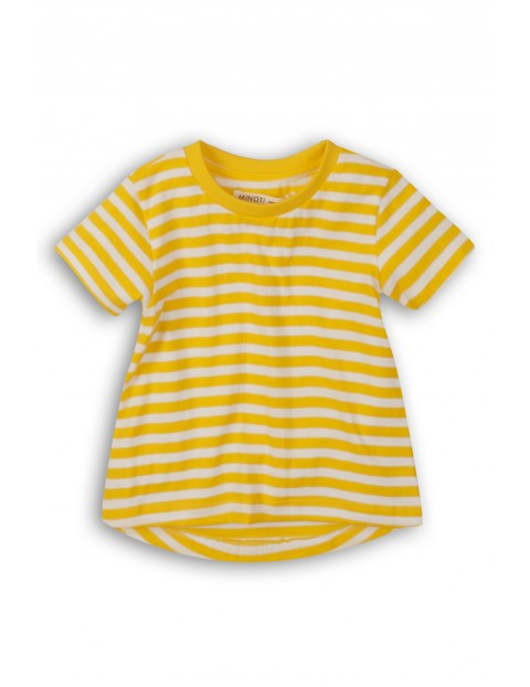 T-Shirt dziewczęcy w biało-żółte paski