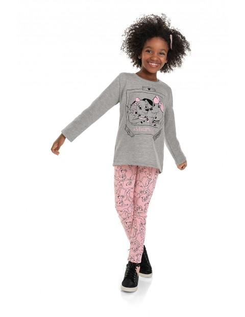 Komplet dziewczęcy z nadrukiem- bluzka z długim rękawem i spodnie