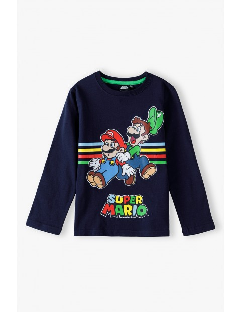 Bluzka chłopięca bawełniana Super Mario - granatowa