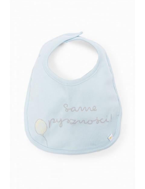 Śliniak niemowlęcy niebieski z napisem Same pyszności !
