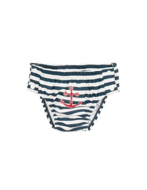 Majtki Kąpielowe z pieluchą na guzik filtrem UV Marynarz