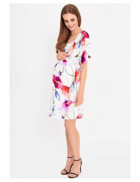 Sukienka ciążowa i dla karmiącej mamy różowa w kwiaty