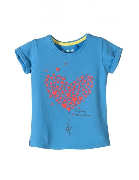 Dzianinowy t-shirt dla dziewczynki- serduszka