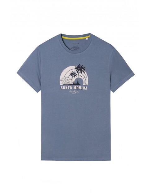 Bawełniany t -shirt męski z palmami - niebieski