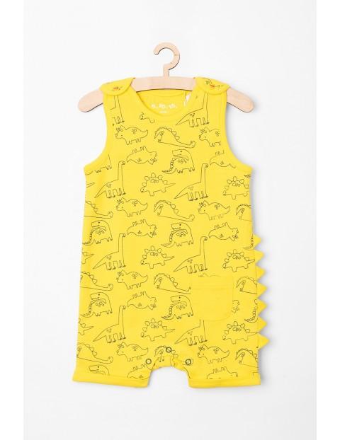 Rampers niemowlęcy- żółty w dinozaury
