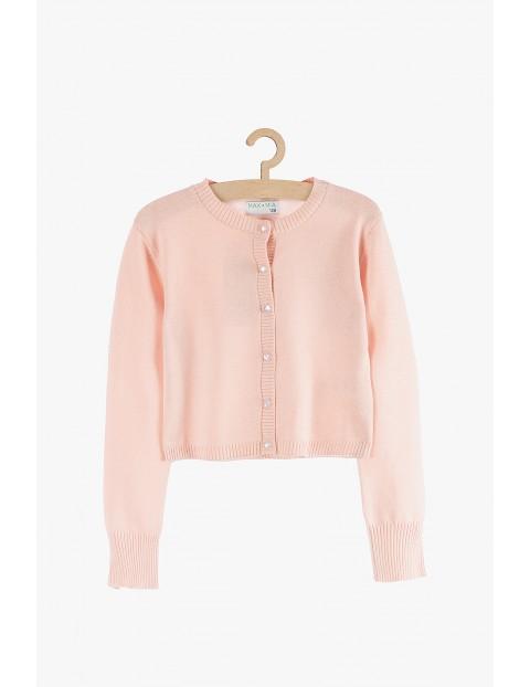 Sweter dziewczęcy różowy z ozdobnymi guzikami