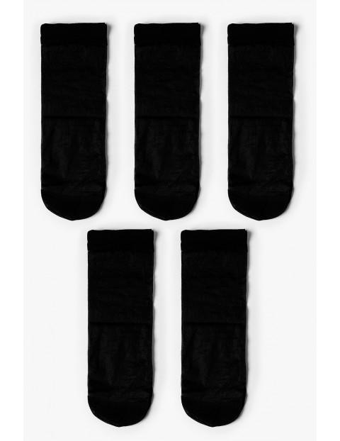Skarpetki damskie gładkie cienkie- czarne 5-pack 20 DEN
