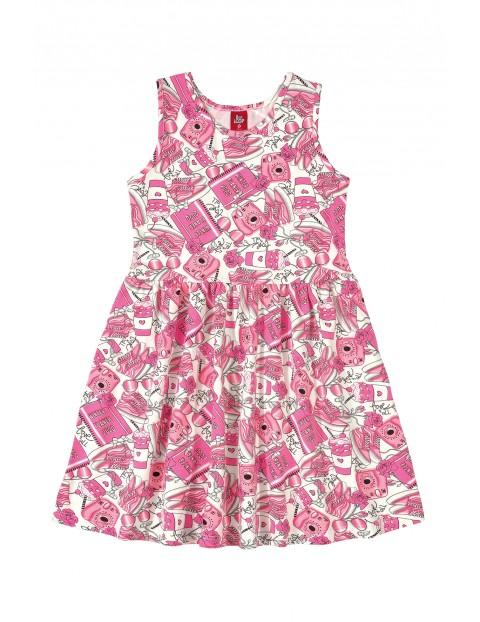 Sukienka dziewczęca w różowe wzorki
