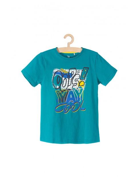 T-shirt chłopięcy niebieski z nadrukami