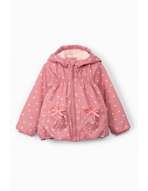 Kurtka przejściowa niemowlęca różowa w kropki
