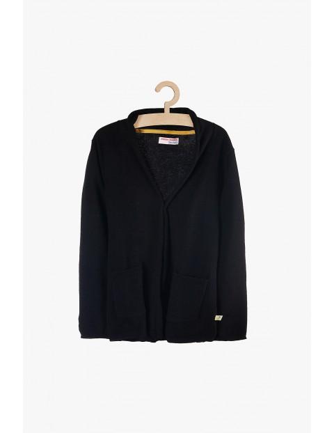 Sweter dziewczęcy czarny z kieszeniami