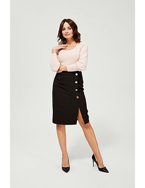 Ołówkowa spódnica z ozdobnymi guzikami - czarna
