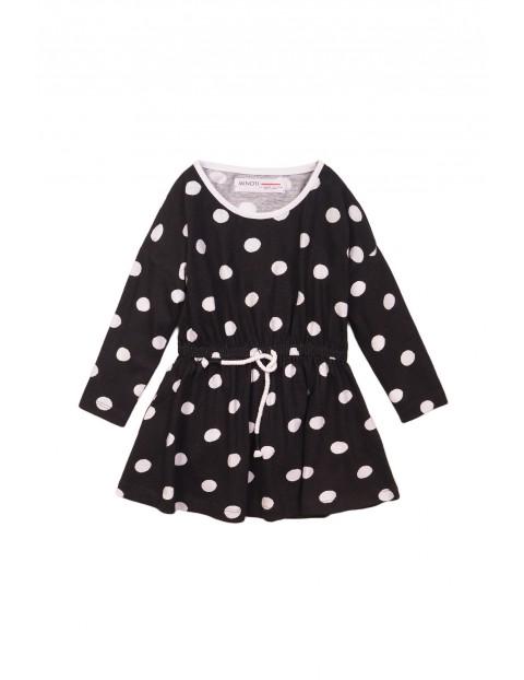 Sukienka bawełniana- czarna w białe grochy rozm 92/98