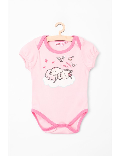 Body niemowlęce NICI różowe z jednorożcem