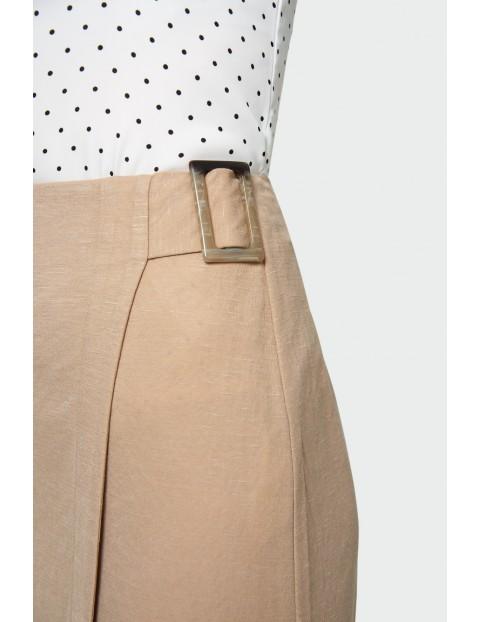 Beżowa rozkloszowana spódnica damska
