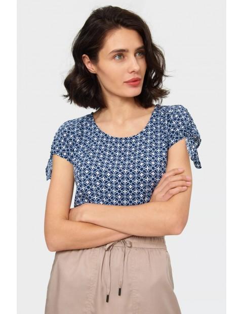 Bluzka damska z ozdobionym wiązaniem na rękawie