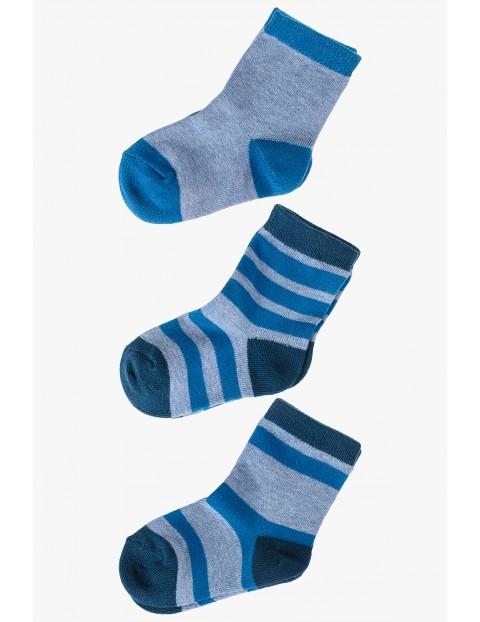 Skarpety chłopięce szaro-niebieskie 3pak