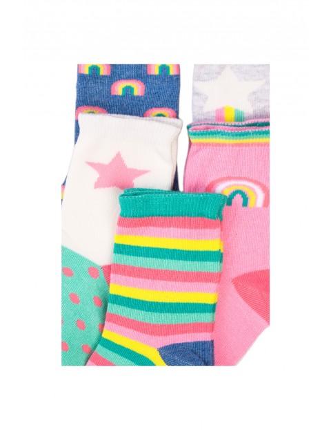 Skarpety dziewczęce w kolorowe paski 5-pak