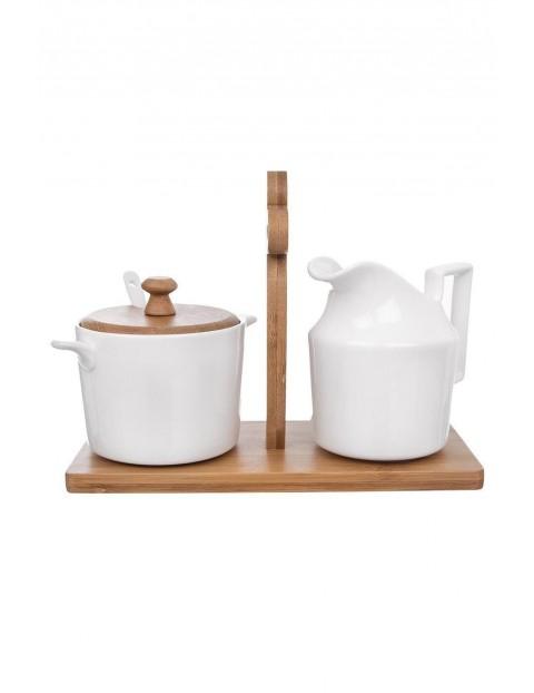 Zestaw porcelanowy- cukierniczka + mlecznik + stojak